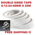 DOUBLE SIDED CLEAR SELLOTAPE STRONG TAPE ROLLS PERMANENT CRAFT SELF DIY ADHESIVE <br/> 6MM X 25M , 12MM X 25M , 24MM X 25M , 48MM X 25M