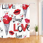 Valentines Day ice crean with hearts Shower Curtain Bathroom & 12hooks 71*71inch