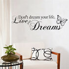 Elegant Sweet Dreams Butterfly Love Quote Wall Stickers Bedroom Removable Decal