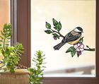 CLR:WND - Chickadee Bird Stained Glass Vinyl Window Decal ©YYDC (CHOOSE SIZE)