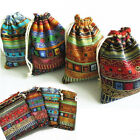 3Pcs 9.5x12cm Linen Bunt Tribal Tribe Drawstring Jewellery Gift Bags Pouches WCL