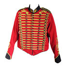 """Steampunk"" Military Jacket by SDL in red + black trim & gold braid decoration"
