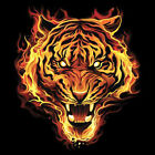 Tiger Made Of Fire Flames Burning Big In Your Face Design Cool T-Shirt Tee