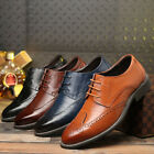 Mens Leather Shoes Dress Formal Lace up Brogue wing tip Wedding Suit Oxfords