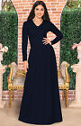 Womens Long Sleeve V-Neck Ruched Empire Pleated Waist Formal Evening Maxi Dress
