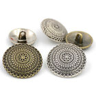 10Pcs Top Grade Bronze Silvery Round Alloy Overcoat Button Sewing Craft Decor