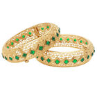 Traditional Indian Royal Green Gold Plated Polki Bangle Bracelet Set Jewelry