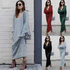 Lady'sWinter Knitted Dress Loose V Neck Knit Long Sleeve Solid Casual Maxi Dress