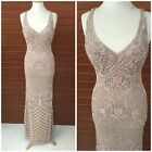 NWT PRIMAVERA COUTURE 3029 V- NECK STRAPPY EMBLISHED CRISS BACK IN BLUSH/BEIGE