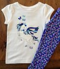 NWT Gymboree 2T 3T 4T 5T Pegasus Top & Flowered Leggings Outfit Blue Pink Girls