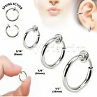 PAIR Surgical Steel Non-Piercing Fake Clips-On Hoop Septum Nose Ring Earrings  image