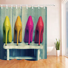 Four pairs of color high heels Shower Curtain Bathroom Fabric & 12hooks 71*71in