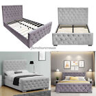3ft,4ft6,5ft,6ft Double King Size Matching Fabric Buttons Upholstered  Bed Frame