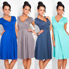 Pregnant Women Summer Maternity Dress Casual Loose V-Neck Pleated Dress Happy