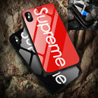Supreme Fashion Case For iPhone X 7 8 Plus Shockproof Tempered Glass Front +Back