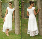 Wedding Dress Scoop tea length lace casual dress short sleeve Bridal Gown