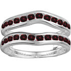 Sterling Silver Genuine Ruby Classic Curved Style Ring Guard(0.38tw)