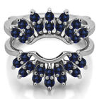 Sterling Silver Genuine Sapphire Double Row Halo Sunburst Ring Guard (0.98tw)