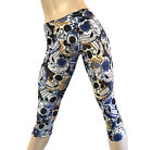 Yoga PantsBlue & Yellow Sugar Skulls Low Rise Capri Plus Size SXYFitness USA