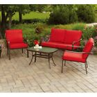 4 Piece Patio Set Conversation Loveseat Sofa Chair Lounge Cushioned Outdoor Red