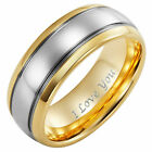 New Mens Tungsten Ring 8mm wide Engraved I Love You in gift pouch