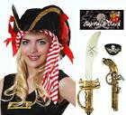 Book Day Deluxe Hat Gold Sword Eyepatch Pirate Fancy Dress Set Hook Captain