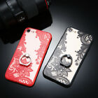 For iphone X 5 6 6s 7 8 Plus Lace Flower Metal Ring kickstan