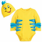Внешний вид - DISNEY STORE FLOUNDER COSTUME BODYSUIT & HAT 3-D FINS & SCALE-TEXTURED STRIPES