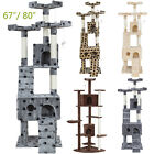 "67"" 80""Cat Tree Castle Condo Furniture Climbing Scratcher Kitten Cat House W/Toys"