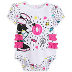 DISNEY STORE MINNIE MOUSE CUDDLY BODYSUIT POP ART GRAPHICS RUFFLED BACKSIDE