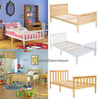 3ft, 4ft6 White / Oak Wooden Bed Frame Solid Pine Single Double Bedroom Home