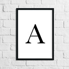 Monochrome Letter FRAMED Print Personalised Initial Typography Home Wall Art