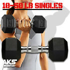 dumbbells 15 lbs - Rubber Hex Dumbbell Singles Free Weights Home Gym Training Build Muscle Strength