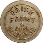 Brick Front 5173 No. 35th St. Milwaukee, Wisconsin WI 5¢ Drink Trade Token