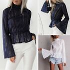 Ladies Trendy OL Style Lace Long Sleeve Blouse Tops Casual White Shirt Tops