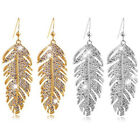 Women's Retro Boho Alloy Feather Rhinestone Eardrops Party Hook Earrings Natural