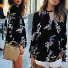 Floral Printed Chiffon Woman Blouse Loose V Neck Long Sleeve