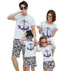 Family Matching Outfits Summer Beach T-Shirt +Pants Vacation Clothes Family Sets