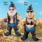 Hippy Biker Babe Chick & Dude Motorcycle Gnome Garden Yard Art Statue Sculptures