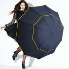 "62"" LARGE Folding Rain Umbrella Windproof Big Oversized For Men and Women"