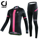 CHEJI Women's Long Cycling Jersey Pants Set Cycling Clothing Winter Suit Black