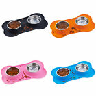 Dog Bowl Double Stainless Steel Bowls in Non-Spill Non-Slip Silicone Mat Tray