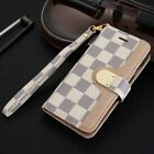 Luxury famous flip grid leather wallet bifold case cover for i phone women LV69