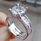 Pink Sapphire 925 Sterling Silver White Gold Plated Engagement Ring Set Sz 5-10