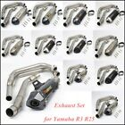For Yamaha R3 R25 Exhaust Muffler Front Link Tube Head Tail Pipe Stainless Steel