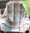Pre CUT Rag Quilt KIT - Playful Bunnies in mint, peach, coral and white minky