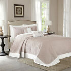 Traditional Tan Ivory Floral Medallion Textured Luxury Bedspread Set Bedding image