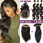 Pre Plucked 360 Lace Frontal Closure With 3Bundles Indian Virgin Human Hair Weft