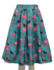 Women's Girl's Flamingo Print Pleated Fit & Flare Midi Casual Party Skirt.
