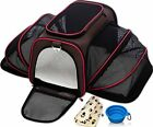 Expandable Pet Carrier for Small Dogs & Cats Kennel Travel Bag w/ Blanket & Bowl